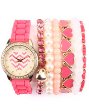 DRJ Accessories Shoppe - Chevron Heart Ceramic Stackable Watch Set