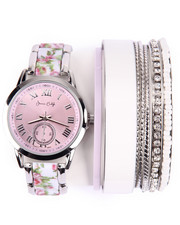 DRJ Accessories Shoppe - Floral Ceramic Stackable Watch Set