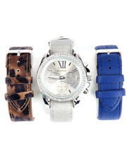Rocawear - Interchangeable 3-Pk Leather Band Watch