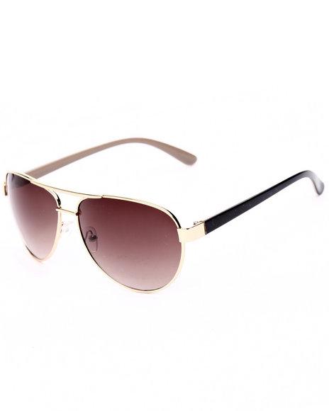 Drj Sunglasses Shoppe Women Gold Rush Aviator Sunglasses Tan 1SZ