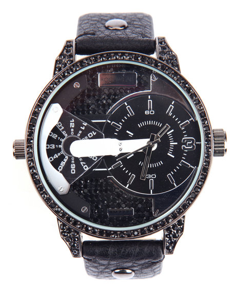 Rocawear Men Universal Round Face Leather Band Watch Black 1SZ