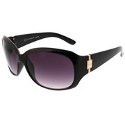 Accessories - Sculpted Oval Rectangular Metal Logo Sunglasses