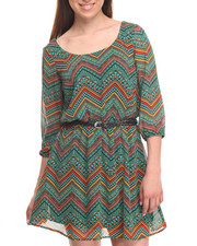 Dresses - Chimmey 3/4 Sleeve Chevron Print Dress w/belt