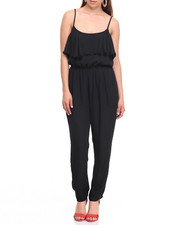 Fashion Lab - Spaghetti Strap Sheer Ruffle Jumpsuit