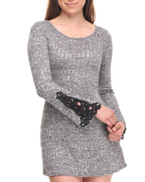 Fashion Lab Women Bell Sleeve Open Back Knit Mini Dress Grey XLarge