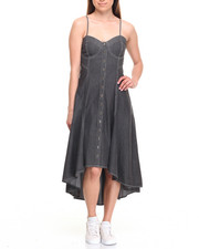 Fashion Lab - Sweetheart Neck Hi Low Denim Dress