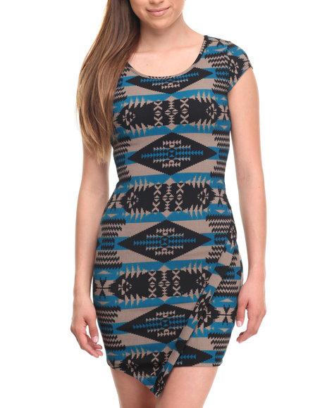 Fashion Lab Women Sand Storm Print Assymetrical Bodycon Dress Black Medium