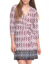 Dresses - Joanie Printed 3/4 Sleeve Wrap Dress
