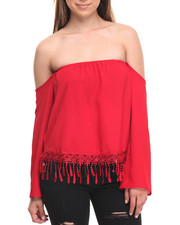 Tops - Fringe Hem Off Shoulder Top