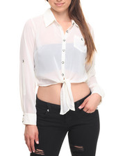 Long-Sleeve - Tie Front Roll Sleeve Georgette Shirt