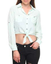 Long-Sleeve - Tie Front Roll Sleeve Stripe Shirt