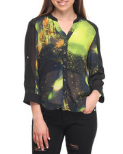 Tops - Cosmic Print Hi-Low Hem Shirt