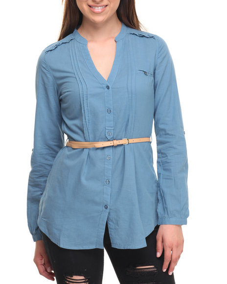 Cotton Express Women Belted Roll Sleeve Chambray Shirt Blue Large