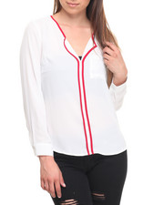 Long-Sleeve - Contrast Placket Chiffon Top