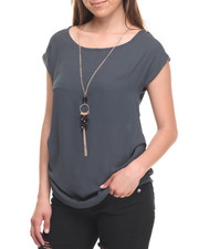 Tops - Short Sleeve Chiffon Top W/Necklace