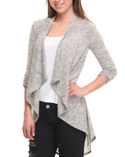 Tops - Long Sleeve Open Draped Hacci Cardigan