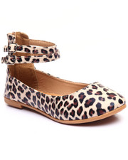 Flats - Leopard Print Double Strap Ankle Strap Ballerina Flat
