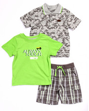 Boys - 3 PC SET - POLO, TEE, & PLAID CARGO SHORTS (2T-4T)