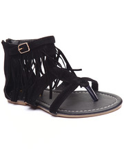 Sandals - Faux Suede Fringed Gladiator Sandal