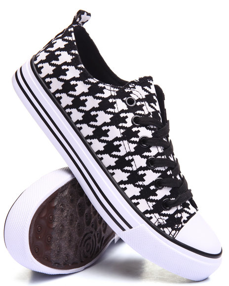 Fashion Lab Women Houndstooth Canvas LaceUp Sneaker Black 9