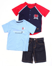 Boys - 3 PC SET - BASEBALL JERSEY, TEE, & DENIM SHORTS (INFANT)