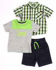 Boys - 3 PC SET - PLAID WOVEN, TEE, & DENIM SHORTS (INFANT)