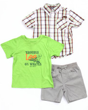 Boys - 3 PC SET - PLAID WOVEN, TEE, & TWILL SHORTS (INFANT)