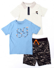 Boys - 3 PC SET - POLO, TEE, & CAMO CARGO SHORTS (4-7)