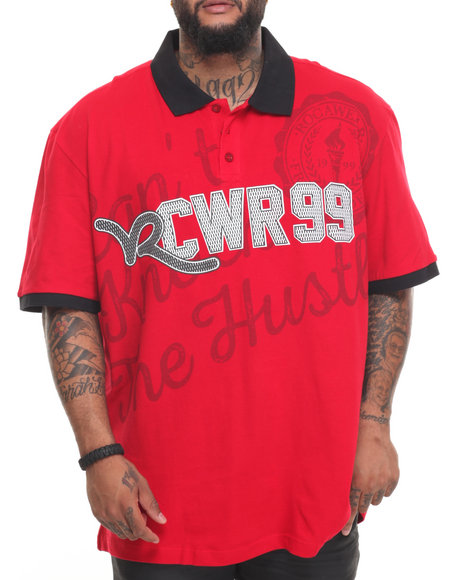 Rocawear Men The Hustle S/S Polo (B&T) Red 4XLB