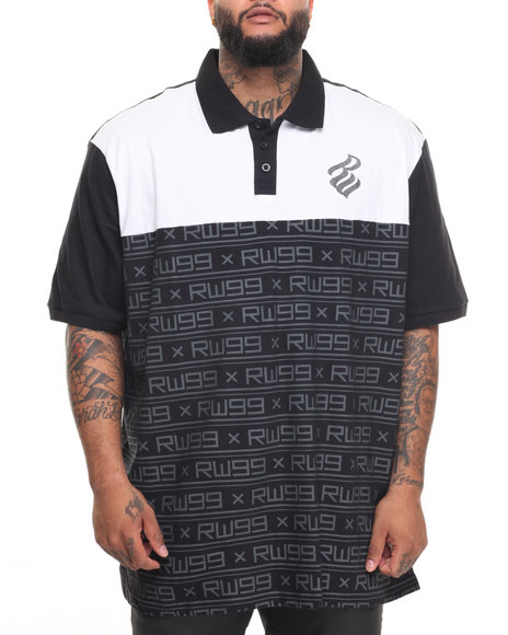 Rocawear Men Equation S/S Polo (B&T) Black 3XLB