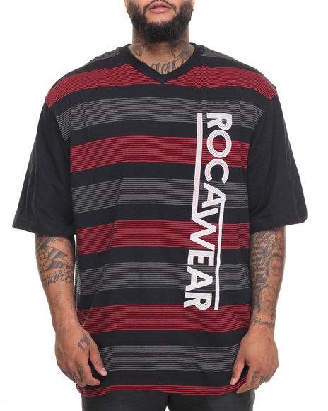 Rocawear Men Fast Lane S/S Knit Tee (B&T) Black 4XLB