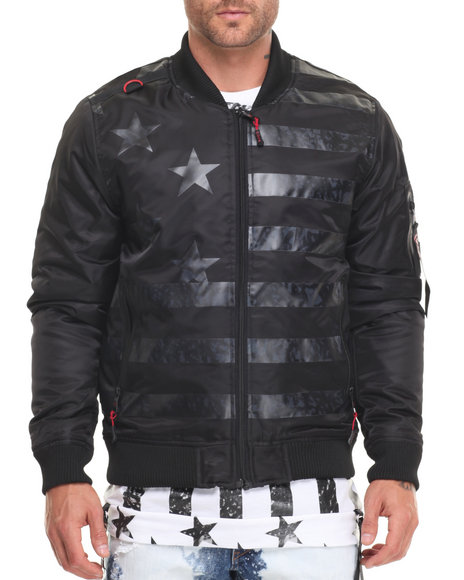 Cote De Nuits Men Tonal Flag Bomber Jacket Black X-Large