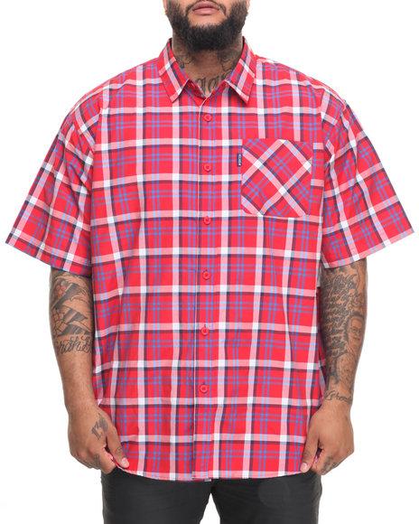 Rocawear Men Pattern 06 S/S Button-Down (B&T) Red 6XLB