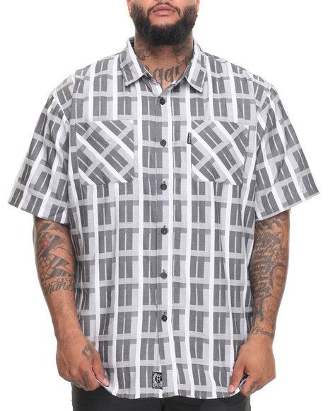 Rocawear Men Pattern 12 S/S Button-Down (B&T) Black 6XLB