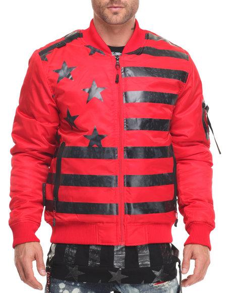 Cote De Nuits Men Tonal Flag Bomber Jacket Red Medium