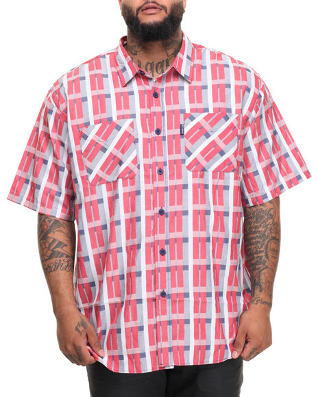 Rocawear Men Pattern 12 S/S Button-Down (B&T) Red 6XLB