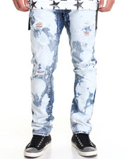 Men - Distressed Bleach Wash Denim Jeans