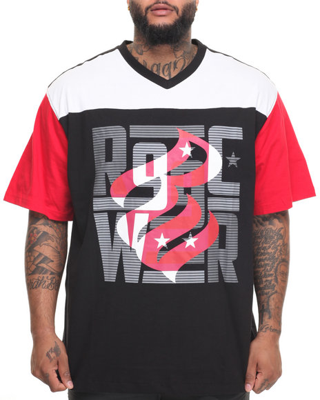 Rocawear Men Fade Out S/S Knit Tee (B&T) Black 3XLB