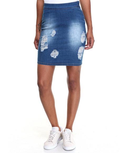 Fashion Lab Women Destructed Sandblasted Side Zip Denim Skirt Medium Wash Medium
