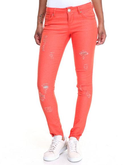 Fashion Lab Women Coral Paint Basic Buttful Denim W/Detress Detail Orange 11/12