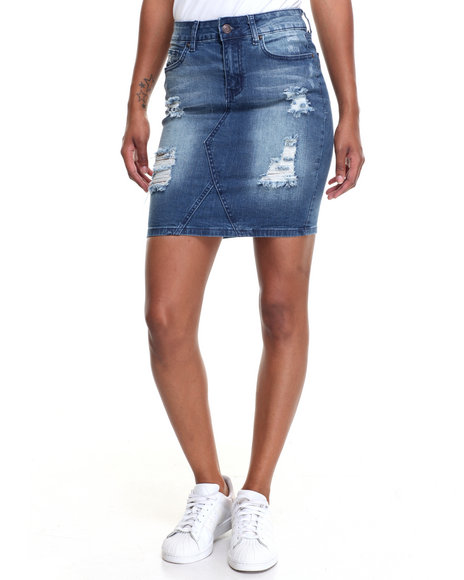 Fashion Lab Women Destructed Stretch Denim Mini Skirt Medium Wash Small