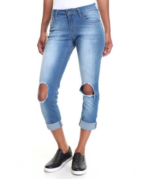 Fashion Lab Women Knee Holes Double Roll Stretch Skinny Jean Medium Wash 15