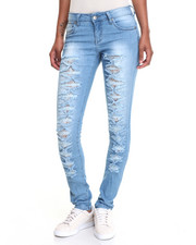 Bottoms - Bowtie Rips Lace Inserts Stretch Skinny Jean