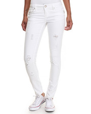 Jeans - White Paint Basic Buttful Denim W/Detress Detail
