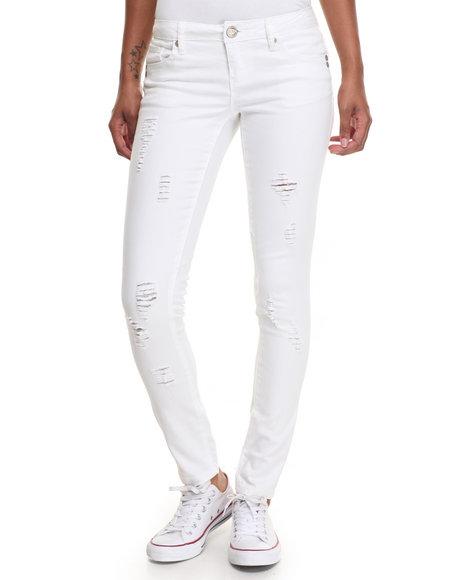 Fashion Lab Women White Paint Basic Buttful Denim W/Detress Detail White 9/10