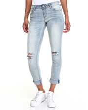 Jeans - Girlfriend Rip Knee Stretch Skinny Jean