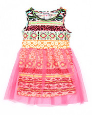 Sizes 4-6x - Kids - AZTEC DRESS W/ MESH OVERLAY (4-6X)