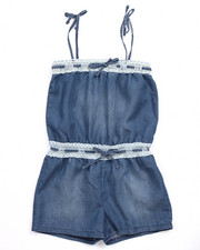 Rompers - DENIM ROMPER W/ LACE TRIM (7-16)