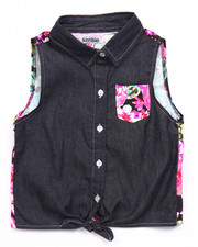 Girls - DENIM & FLORAL TIE FRONT TOP (7-16)