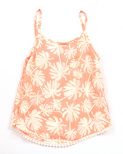 Girls - PALM TREE TOP W/ POM POM TRIM (7-16)